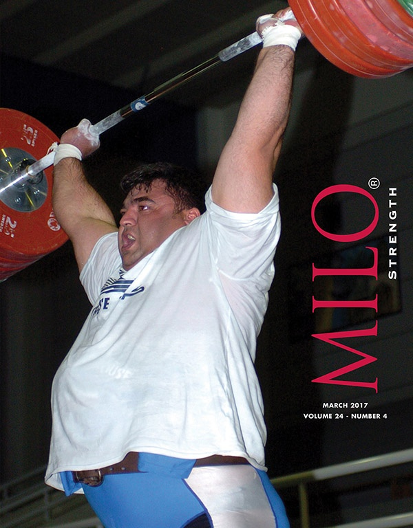 Cover photo: The Monarch of Mass, Hossein Rezazadeh could uncork world-class lifts nearly at will, day in and day out. Here's a shot of him blowing up 245 kg in the clean and jerk in the training hall at the 2005 Asian Weightlifting Championships (Dubai, UAE). ©Randall J. Strossen photo