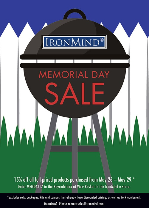 Get the training equipment you want and save money during the IronMind Memorial Day Sale.
