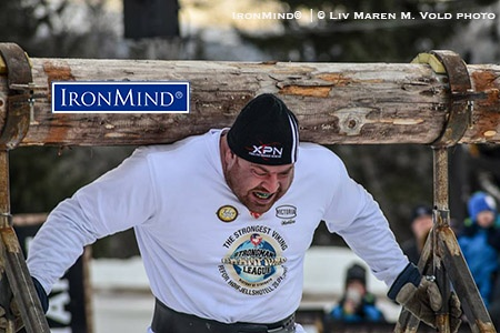 Top Canadian strongman J-F Caron won the dramatic and prestigious SCL Norway competition at the Fefor Hotel in Vinstra, Norway. IronMind® | ©Liv Maren M. Vold photo