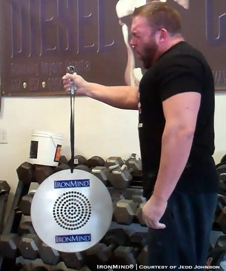 Jedd Johnson set the inaugural world record for the CoC (Captains of Crush) Silver Bullet Hold with a CoC No. 4 gripper at the Winter Grip Fest on Febriuary 18, 2017, notching a time of 15.32 seconds. IronMind® | Image courtesy of Jedd Johnson