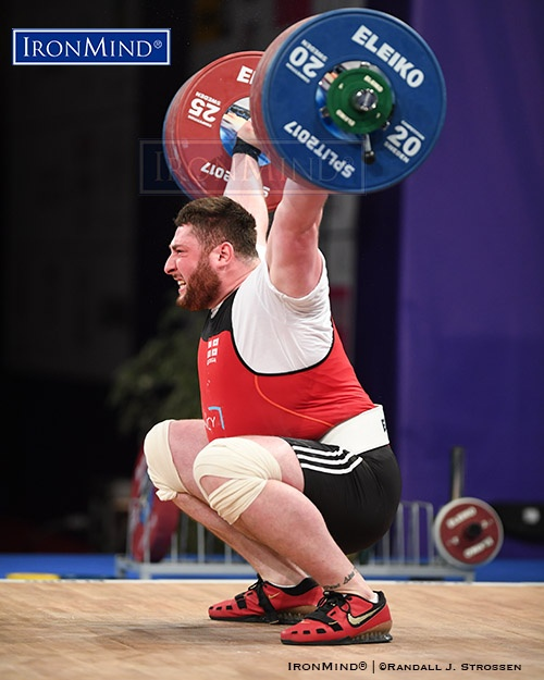 Lasha Talakhadze (Georgia), the Rio Olympic champion, blistered this 217-kg snatch at the 2017 European Weightlifting Championships, for a new world record. IronMind® | ©Randall J. Strossen photo