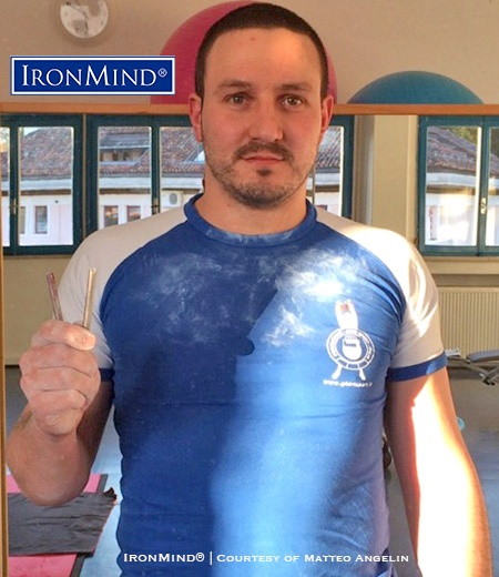 32-year old Matteo Angelin has just been certified on the IronMind Red Nail, an international standard for bending steel. IronMind® | Image courtesy of Matteo Angelin