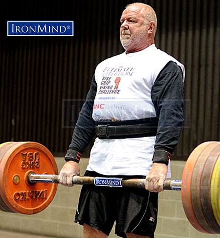 Always a threat on the Apollon's Axle Double Overhand Deadlift watch for Odd Haugen to uncork a lifetime personal best at the 2017 APL Armlifting World Championships in St. Petersburg, Russia. IronMind® | ©Randall J. Strossen photo