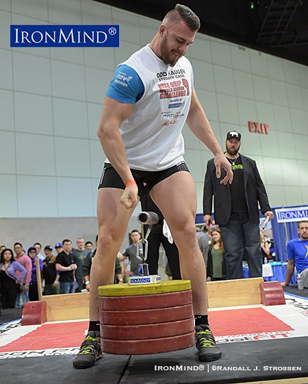 After winning the title with a 115-kg lift, Roman Penkovskiy attempted 120 kg but could not hang onto 120 kg at the 2017 IronMind Rolling Thunder World Championships at the Los Angeles FitExpo. IronMind® | ©Randall J. Strossen photo