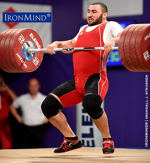 There was a lot of red on the board in the 105-kg class at the 2017 European Weightlifting Championships, which was won by Simon Martirosyan. Martirosyan's performance included this 230-kg clean and jerk. IronMind® | ©Randall J. Strossen photo