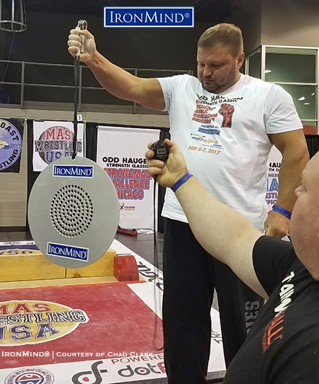 IronMind News by Randall J. Strossen: Alexey Tyukalov crushed the inaugural world record on the CoC No. 4 Silver Bullet as he posted a time of 17. 8 seconds in Odd Haugen's grip contest at the Chicago FitExpo. IronMind® | Chad Clark photo