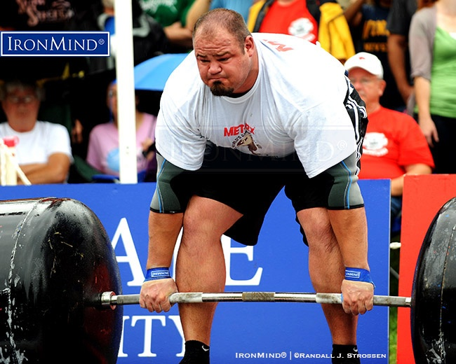 IronMind News by Randall J. Strossen: Brian Shaw (USA) shown deadlifting and on his way to victory at the 2011 World's Strongest Man (WSM) contest (Wingate, North Carolina), the first of his four WSM titles to date. Shaw is ranked fourth on the Fortissimus All-Time Rankings of professional strongman competitors. IronMind® | ©Randall J. Strossen photo