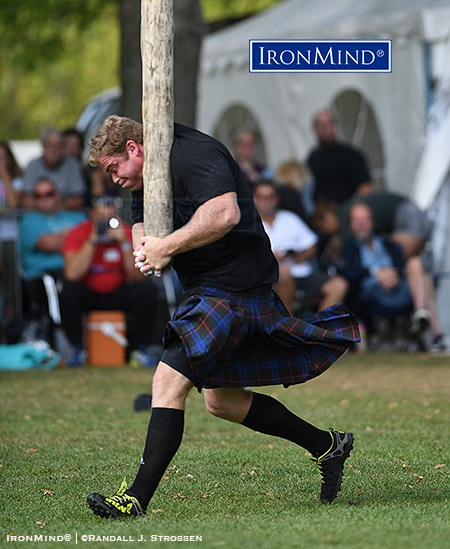Dan McKim (USA) won heavy hammer, 56-lb. weight for height, the caber, and the overall title at the David Webster Heavy Events World Championships in Hank, Holland. IronMind® | ©Randall J. Strossen photo