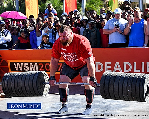 (UK) won the 40th anniversary edition of the World's Strongest Man contest today with a performance that included this 472.5-kg deadlift. IronMind® | ©Randall J. Strossen photo
