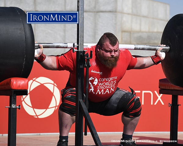 Eddie Hall pounded out a winning 15 reps on the squat, which used a stretched IronMind Apollon's Axle fitted with massive globes and weighed 700 lb. IronMind® | ©Randall J. Strossen photo