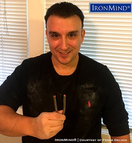 IronMind News by Randall J. Strossen: It's official:Frank DeLuca has just been certified on the IronMind Red Nail, proving his prowess as a steel bender, and his name has been added to the Red Nail Roster. IronMind® | Photo courtesy of Frank DeLuca