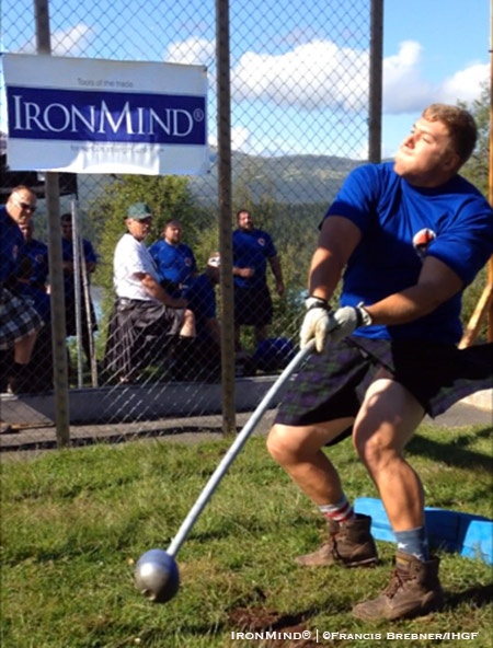 Gary Randolph (USA) won six of the eight events, including both hammers, to win the 2017 IHGF Amateur Highland Games World Championships in Fefor, Norway. IronMind® | ©Francis Brebner/IHGF photo