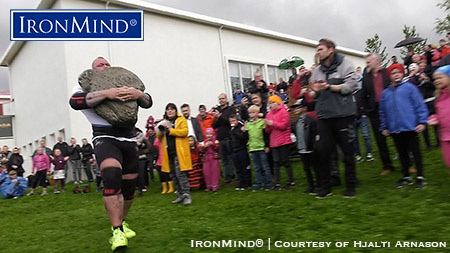 Hafþór Júlíus Björnsson set a world record carrying the original Husafell stone 90 meters, as he also won the Iceland's Strongest Man title for the seventh time. IronMind® | Photo courtesy of Hjalti Arnason