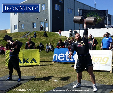 Hafthor Julius Bjornsson (right) on the dumbbell press at the Strongest Man in Iceland Viking Challenge, which he won. IronMind® | Courtesy of Magnus Ver Magnusson
