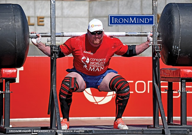 Jean-Francois Caron (Canada) was second only to Eddie Hall in the squat at the 2017 World's Strongest Man contest (Gaborone, Botswana), where he finished fifth place overall and proved once again that he can give up a lot of bodyweight and still be fiercely competitive on the professional strongman circuit. IronMind® | ©Randall J. Strossen photo