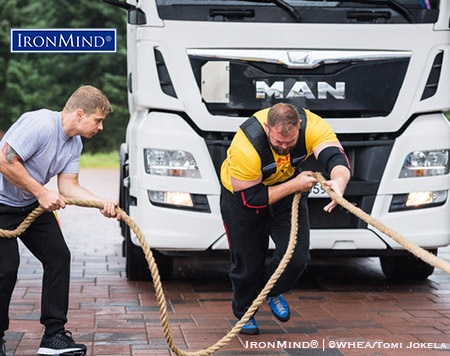 Michael Allen (England), who won the open men category in the 2017 US World Championships, on truck bus pull. IronMind® | ©WHEA/Tomi Jokela