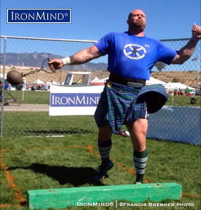 Mike Dickens dominated the A group at New Mexico's Rio Grande Valley Celtic Festival and Highland Games, where he set six field records. IronMind® | Photo courtesy of Francis Brebner