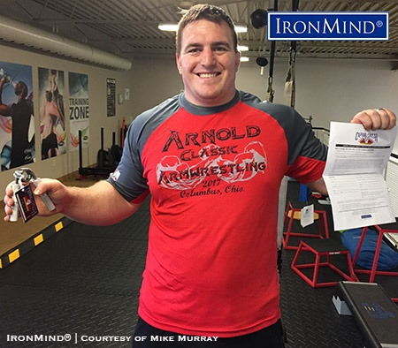 Mike Murray (Canada) has just been certified on the Captains of Crush No. 3 gripper. IronMind® | Courtesy of Mike Murray