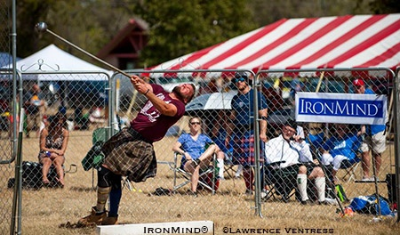 Skylar Arneson won both hammers at the 2017 IHGF All-American Highland Games Championships. IronMind® | ©Lawrence Ventress photo