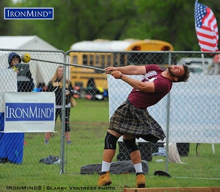 Standout performances on both hammers contributed to Skylar Arneson's victory at the Great Plains Renaissance Festival & Highland Games, which qualified him for the IHGF All-American Championships. IronMind® | Photo courtesy of Larry Ventress