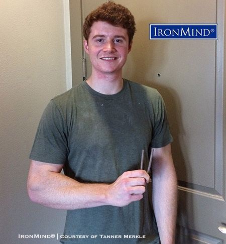 Tanner Merkle, a competitive rock climber who works as a respiratory therapist, has just been certified on the IronMind Red Nail—making it official that he's a steel bender to be reckoned with. IronMind® | Courtesy of Tanner Merkle