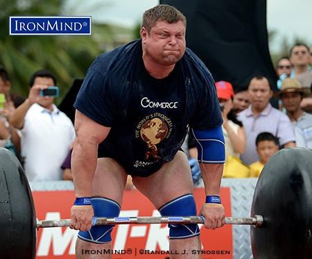 Zydrunas Savickas, shown deadlifting at the 2013 World's Strongest Man contest (Sanya, China), is the greatest strongman of all time according to the ratings and rankings just released by Fortissimus World Strength. IronMind® | ©Randall J. Strossen photo