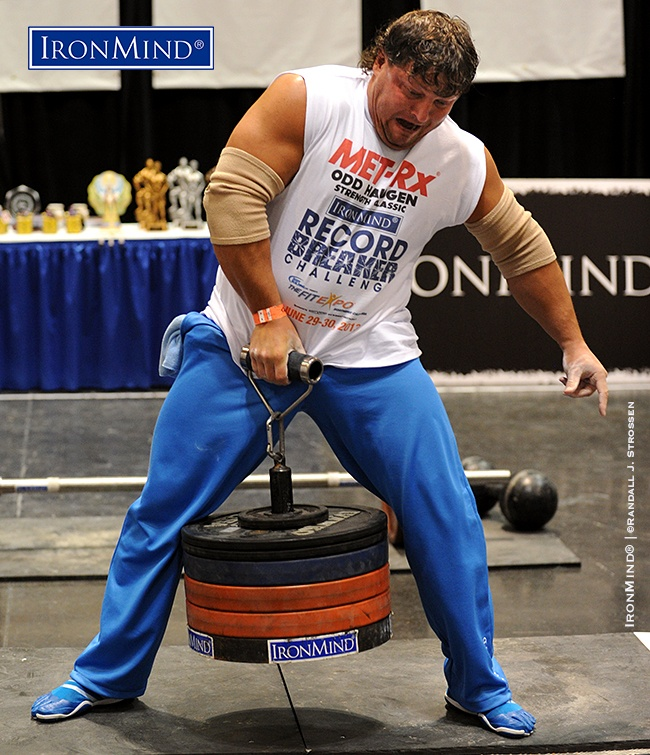 IronMind News by Randall J. Strossen: Alexey Tyukalov (Russia) hit 130.5 kg on the Rolling Thunder at the 2013 IronMind Record Breakers, holding off a hard-charging Mike Burke for the event win and the absolute world record. IronMind® | ©Randall J. Strossen photo