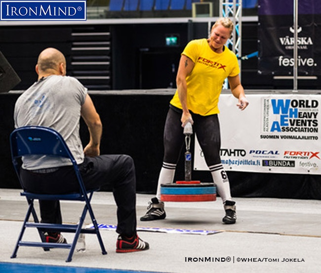 Anu Rytkönen dominated the -72kg class in IronMind´s Little Big Horn in2018 US World Grip Championships 2018.  IronMind® | ©WHEA/Tomi Jokela