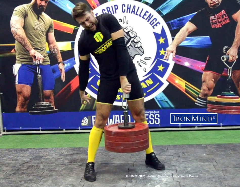 Dymtro Potapenko (Ukraine) broke the men's world record for the Little Big Horn with this 108.30-kg success at the 2018 Ukrainian Elite Grip Challenge. IronMind® | Courtesy of Vitaliy Pulin