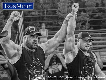 "Jean-François Caron (left), who won his eighth consecutive Canada's Strongest Man title this weekend, shown with Jimmy Paquet, the other half of what Paul Ohl calls, ""The Canadian Dynamic Duo."" IronMind® 