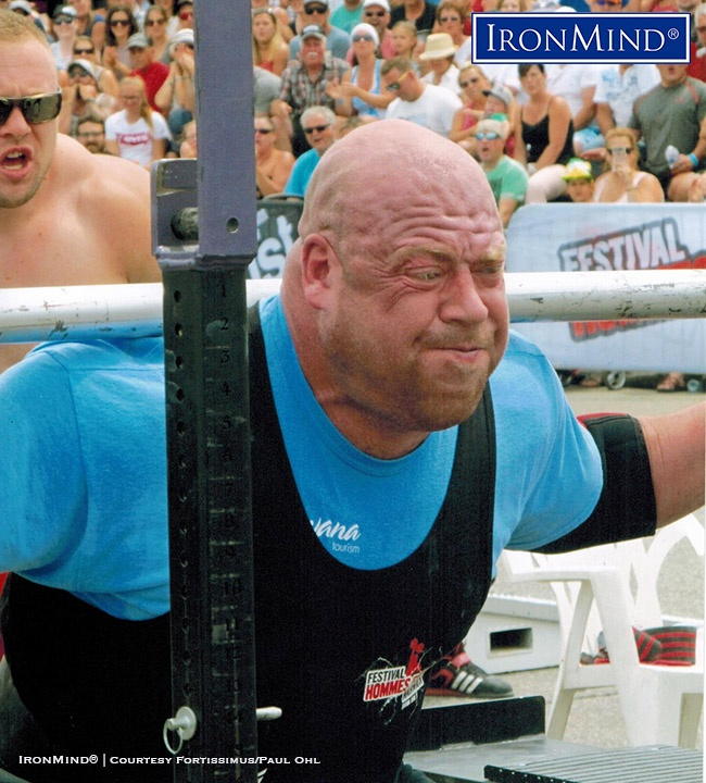 Jean-François Caron (Canada), shown battling it out with Martins Licis at the Arnold Pro Strongman World Series in Warwick, Canada in July. Both men, incidentally, knocked off 11 reps with the 720-lb. load. IronMind® | Photo courtesy of Fortissimus/Paul Ohl