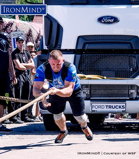 "Second in the Truck Pull and first overall, Oleksandr Kochergin (Ukraine) won the WSF World Championship under 110 kg ""in a very convincing style."" IronMind® 