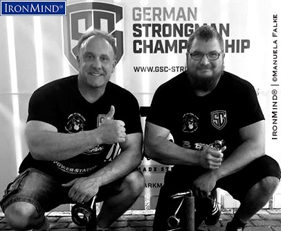 Daniel Isernhagen (right) extends Germany's proud tradition in the grip strength world as he completed the Crushed To Dust! Challenge under the watchful eye of Stefan Falke (left) and has bas been certified on this universal test of all-around superior grip strength. IronMind® | Photo courtesy of Manuela Falke