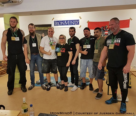 Here's the group photo from the 2018 Austrian Strict Curl and Armlifting Championships. IronMind® | Courtesy of Juergen Garschall