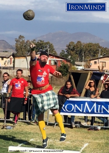 Eddie Brown (USA) on the Braemar Stone, one of the events he won, along with the overall title, a the IHGF Chilean Highland Games. IronMind® | ©Francis Brebner
