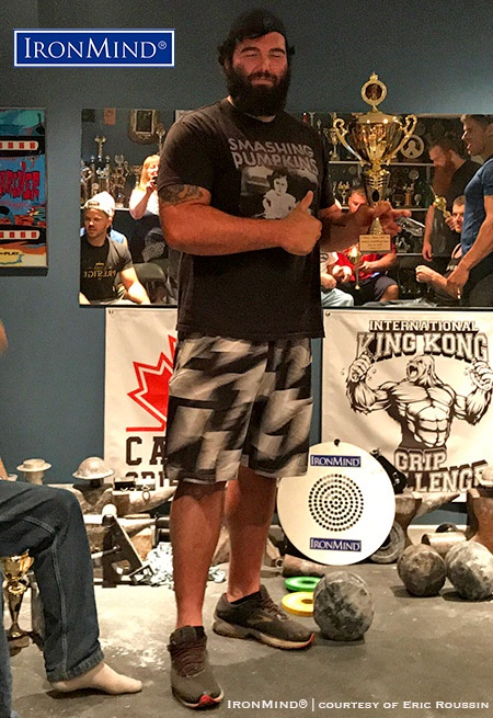 Justin Major (Canada) got off to a quick start at the 2018 Ontario Armlifting Open organized by Eric Roussin: Major successfully completed the Crushed-To-Dust Challenge, and then went on to win the grip contest's 100+ kg class. IronMind® | Photo courtesy of Eric Roussin