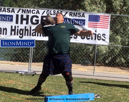 Impressive across the board, Kyle Lille added an exclamation point to his winning performance at the 2018 Las Vegas Highland Games by uncorking an amateur world record in the 22-lb. Braemar stone. IronMind® | Photo courtesy of Francis Brebner/IHGF