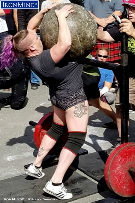 Strongwoman competitor Liefia Ingalls' winning performance in the women's category at the 2018 California's Strongest Man contest included lifting a world record 332-lb. Atlas Stone. IronMind® | Photo courtesy of Scott Brengel