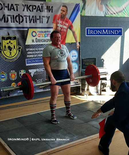Lyudmila Gaidushenko pulled a women's world record 132-kg double overhand deadlift on the Apollon's Axle at the 2018 APL Ukraine Armlifting Championships. IronMind® | Photo courtesy of APL Ukraine Branch