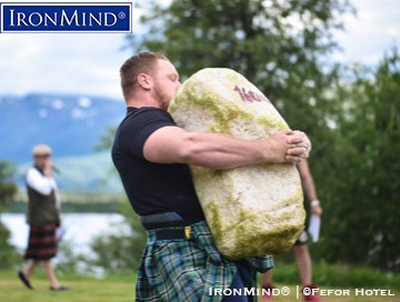 Nathan Goltry (USA) might have come into the 2018 IHGF Stones of Strength World Challenge in Fefor, Norway as a dark horse, but he left as the champion. IronMind® | ©Fefor Hotel photo