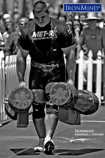 """Dominic Filiou has a mastadonic bone structure and even though he seemed trimmed down to nearly svelte proportions [at the 2005 Muscle Beach Grand Prix/WSM Super Series], his immense size packed enough power to earn him an invitation to WSM [World's Strongest Man] 2005."" IronMind® 