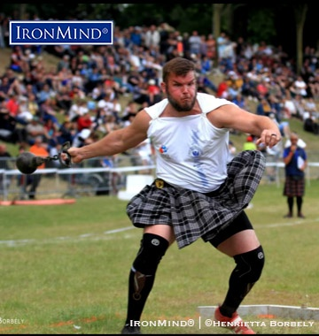 Facing a tough field, Skylar Arneson (USA) held on for the victory at the 2019 IHGF World Amateur Highland Games Championships in Bressuire, France. IronMind® | Photo courtesy of Henrietta Borbely