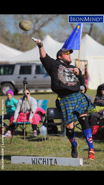 Braemar stone specialist Skylar Arneson dominated the men's Amateur A class at the Great Plains Renaissance Festival Highland Games (Witchita, Kansas), a qualifier in the IHGF All-American Highland Games Championships series. IronMind® | Lawrence Ventress photo