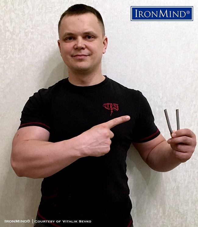 Vitalik Sevko (Russia) has just been certified on the IronMind Red Nail, a universal steel bending standard. Sevko is 36 years old, 180 cm tall and weighs 93 kg. IronMind® | Courtesy of Vitalik Sevko