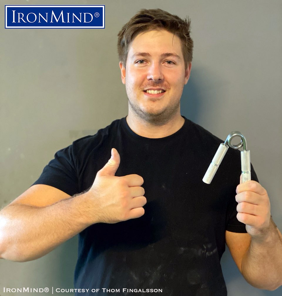 Thom Fingalsson has proven his world class grip strength as he has just been certified on the Captains of Crush No. 3 gripper. Thom is 28 years old, is 192 cm tall and weighs 128 kg. IronMind® | Photo courtesy of Thom Fingalsson