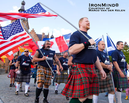 Ken Lowther, front and center, took top honors at the 2010 International Highland Games Federation (IHGF) World Pro Masters Championships this past weekend.  IronMind® | Photo courtesy of Marco van der Kelen.