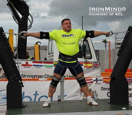 Finishing just one point behind Zydrunas Savickas in Gibraltar, Krzyszstof Radzikowski is the 2013 MHP Strongman Champions League series leader.  IronMind® | Photo courtesy of SCL.