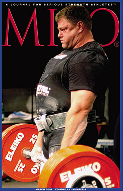 """Brad Gillingham was eyeball to eyeball with 390 kg . . . ."" For the rest of the story, check the March 2008 issue of MILO. IronMind® 