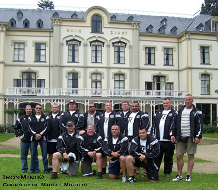 Standing in front of the gracious Villa Ruimizicht, the Strongman Champions League organizers and competitors show off the official clothing line. IronMind® | Courtesy of Marcel Mostert