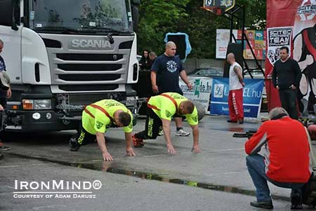 adam-eurosm-14_lg The Truck Pull was one the classic strongman events modified for the team format used in the Scitec European Strongest Team Challenge.  IronMind® | Photo courtesy of Adam Darusz